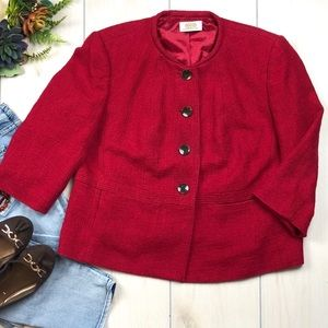 Cranberry Red Button Front Blazer Work Career